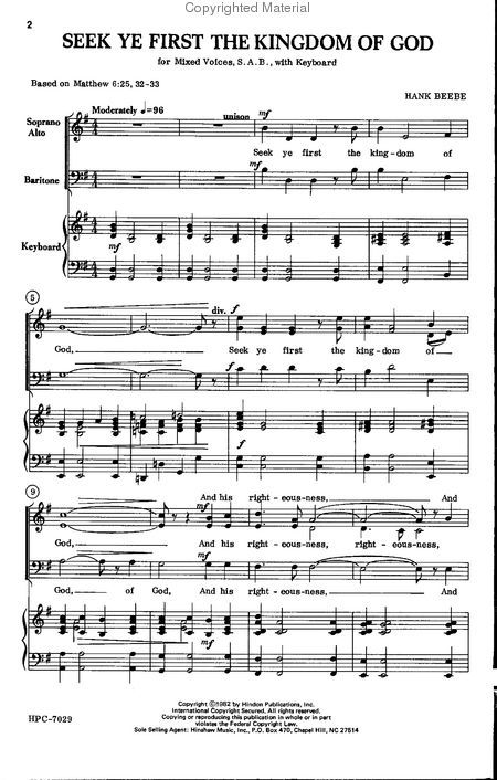 See Ye First Sheet Music Extract Seek Ye First The Kingdom Of God