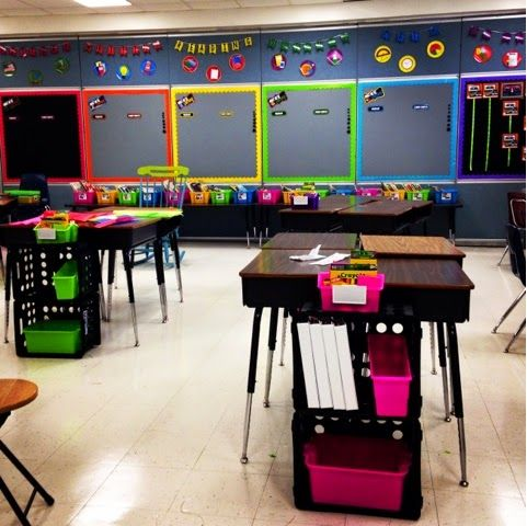 Bright Neon Clroom Theme Using Crates For Student Storage