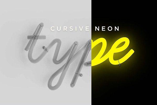 Cursive Neon Type - Objects | LETTERING // MISC | Cursive, Neon
