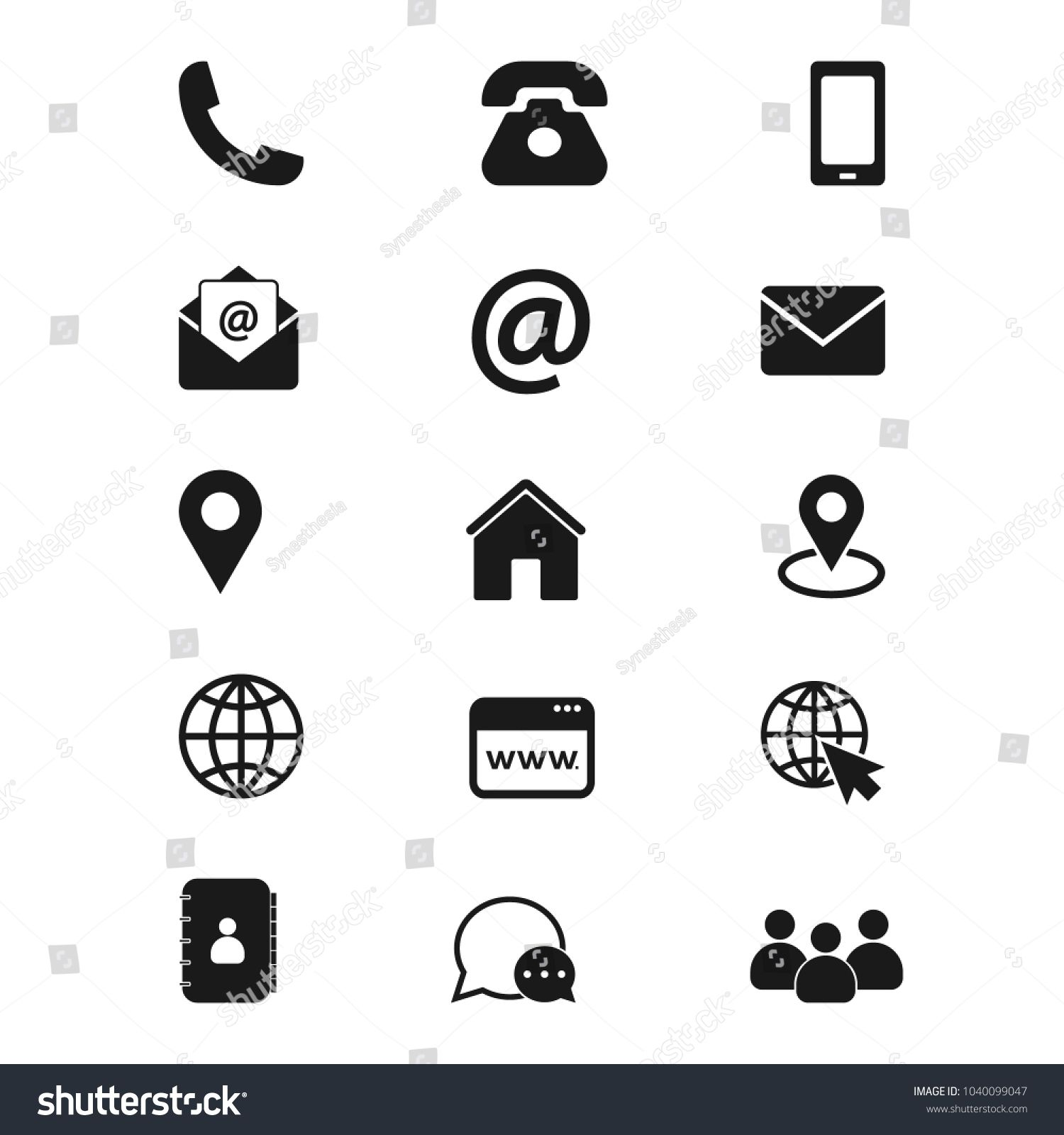 Contact us icons. Simple vector icons set on white