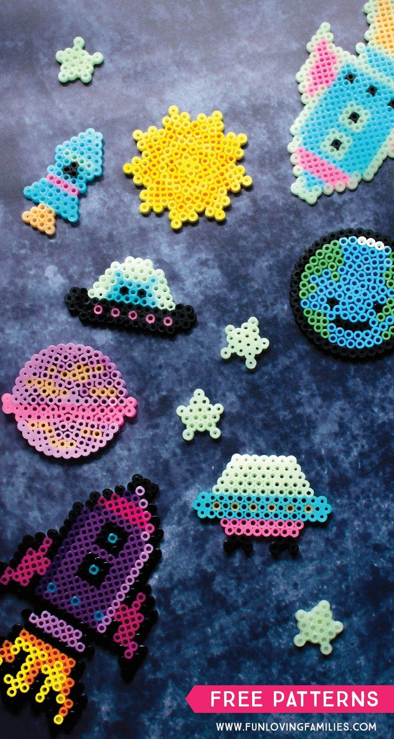 Space Themed Perler Bead Patterns With Printable Templates Perler Bead Templates Perler Bead Art Beading Patterns