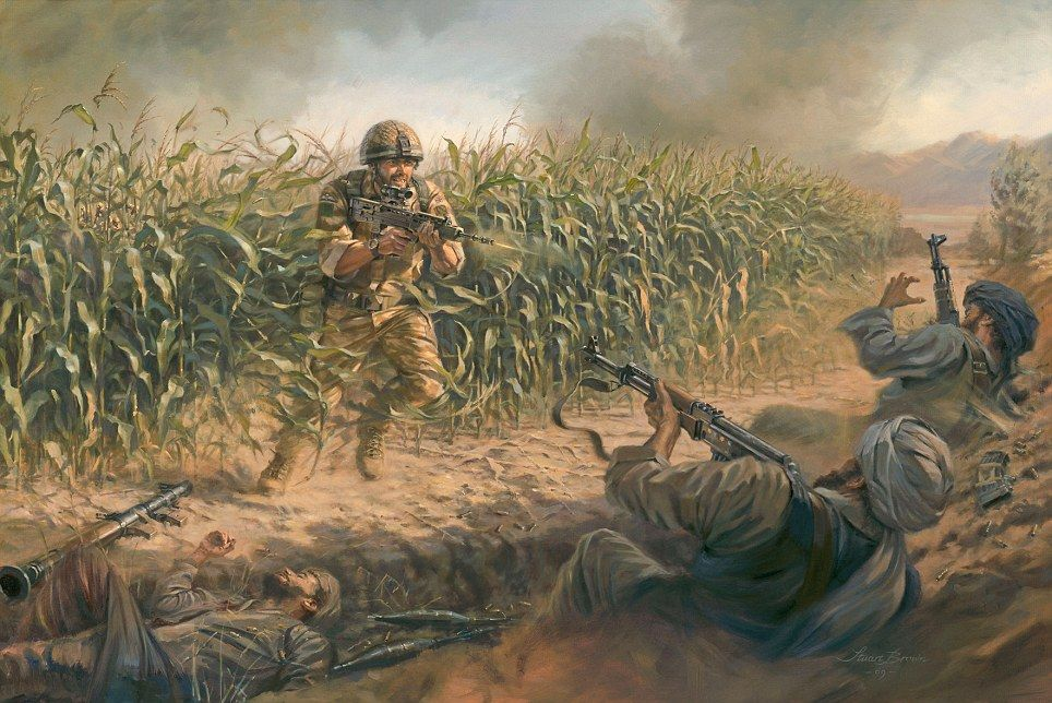 Brave British Soldier Immortalised In Painting Depicting The Moment He Was Gunned Down In A Hail Of Bullets Military Art Military Artwork Military Drawings