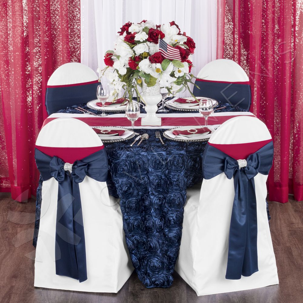 e4e6f6070638f Lamour Satin Chair Sash - Navy Blue in 2019   chair decorations ...