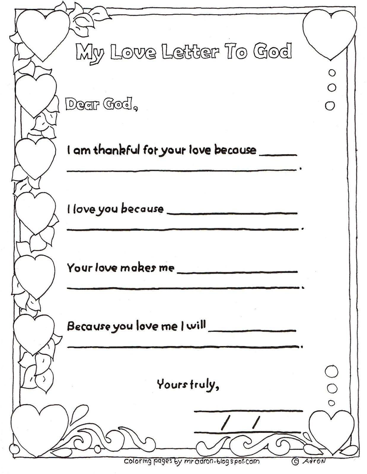 A Child39s Love Letter To God Activity and Printable