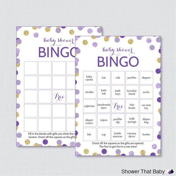 Purple And Gold Baby Shower Bingo Cards Printable