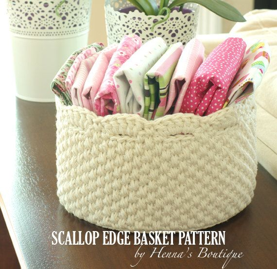 Crochet Basket Pattern - Round Scallop Edge Basket - PDF | Cestas ...