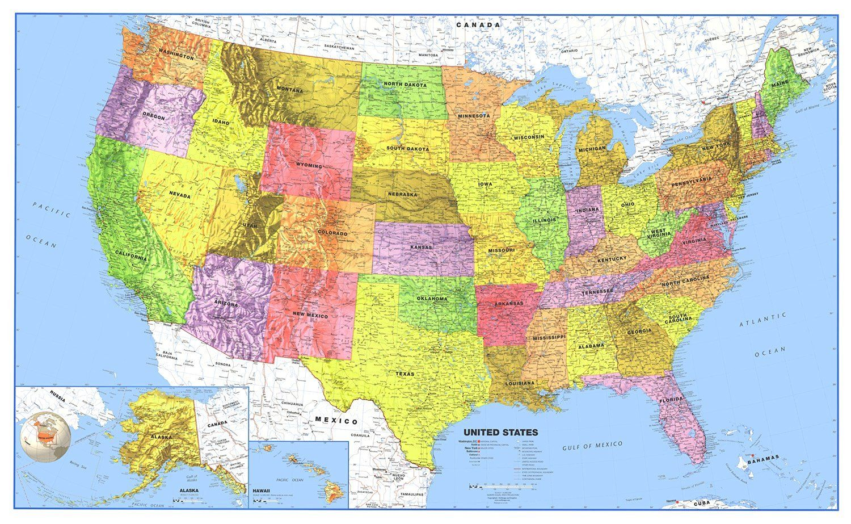 amazon com 48x78 united states classic premier laminated on laminated wall maps id=47947