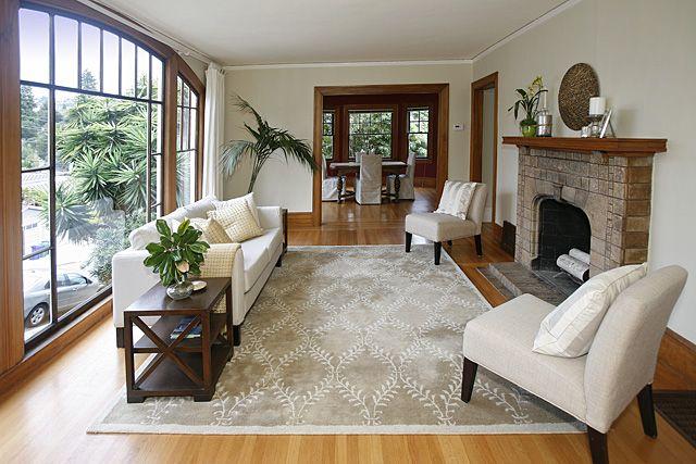 Formal Living With Fireplace Original Gum Wood Trim Oak