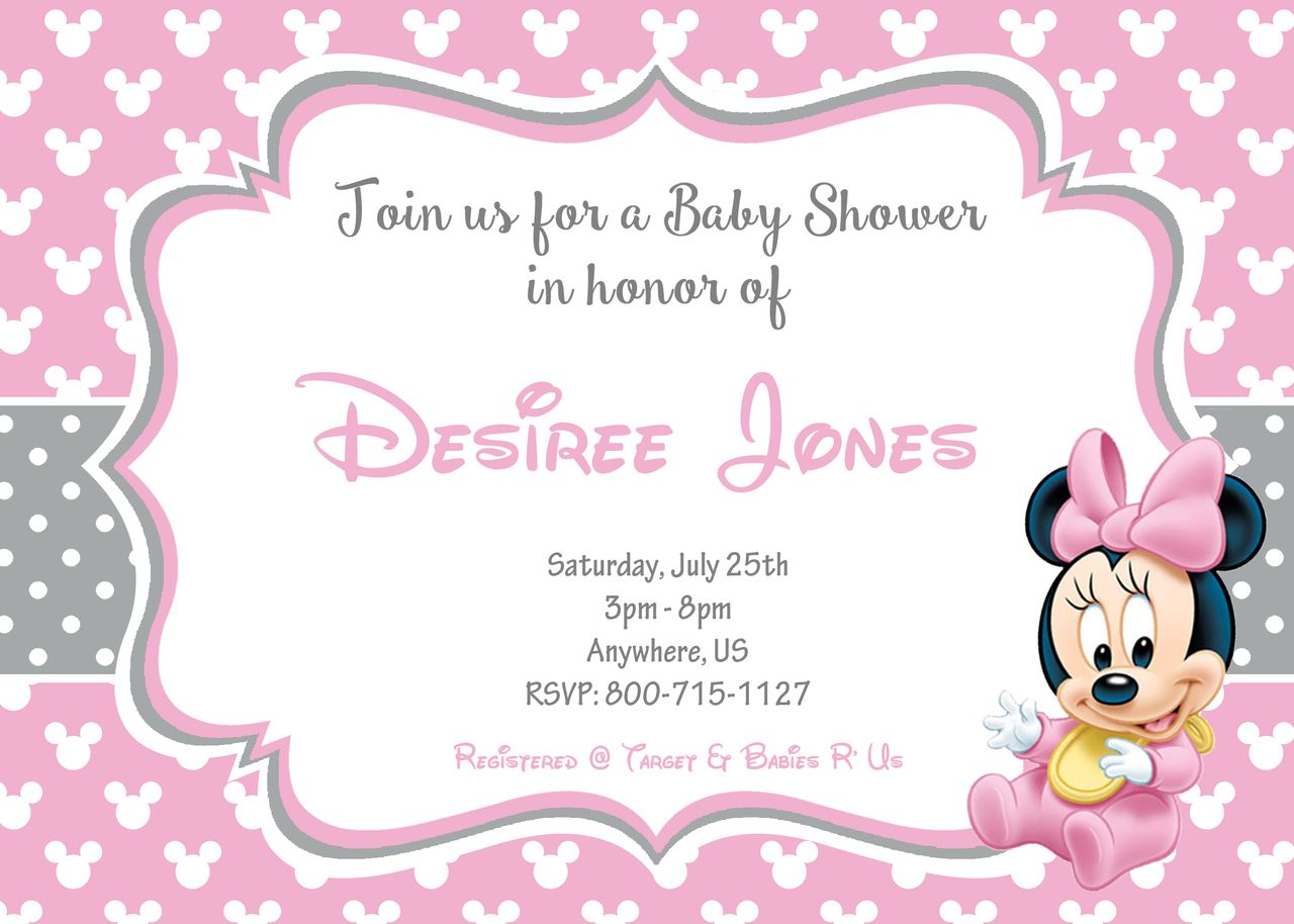 Cute Baby Shower Baby Minnie Mouse Invitations
