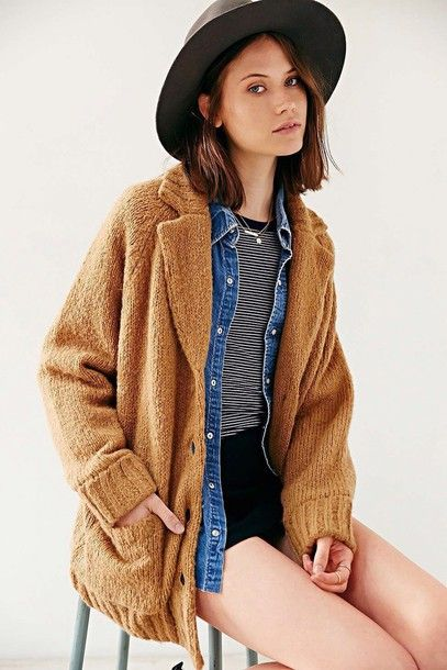6e7710d1c coat rolled up sleeves too expensive stripes jacket urban outfitters  hipster fall outfits denim jacket denim brown wool oversized cardigan  oversized button ...