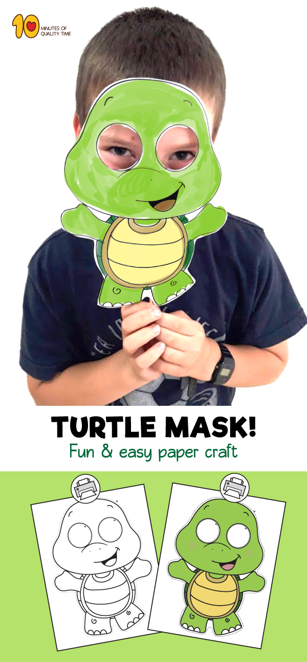 Printable Turtle Mask | Pond/frog Theme | Animal masks for kids