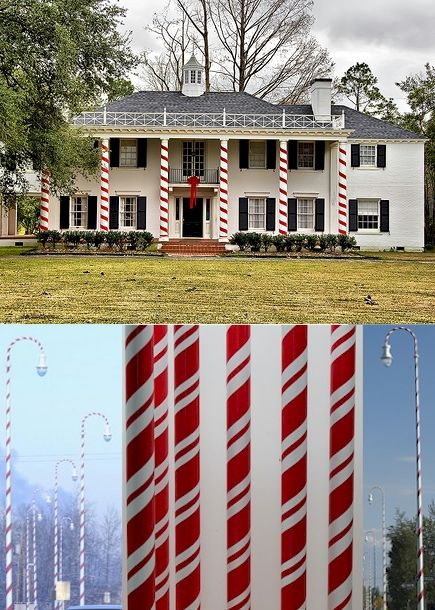 Golden Openings Inc Red And Or White Plastic Ribbon To Create Candy Cane Pillars Christmas House Lights Front Porch Christmas Decor Christmas Porch Decor