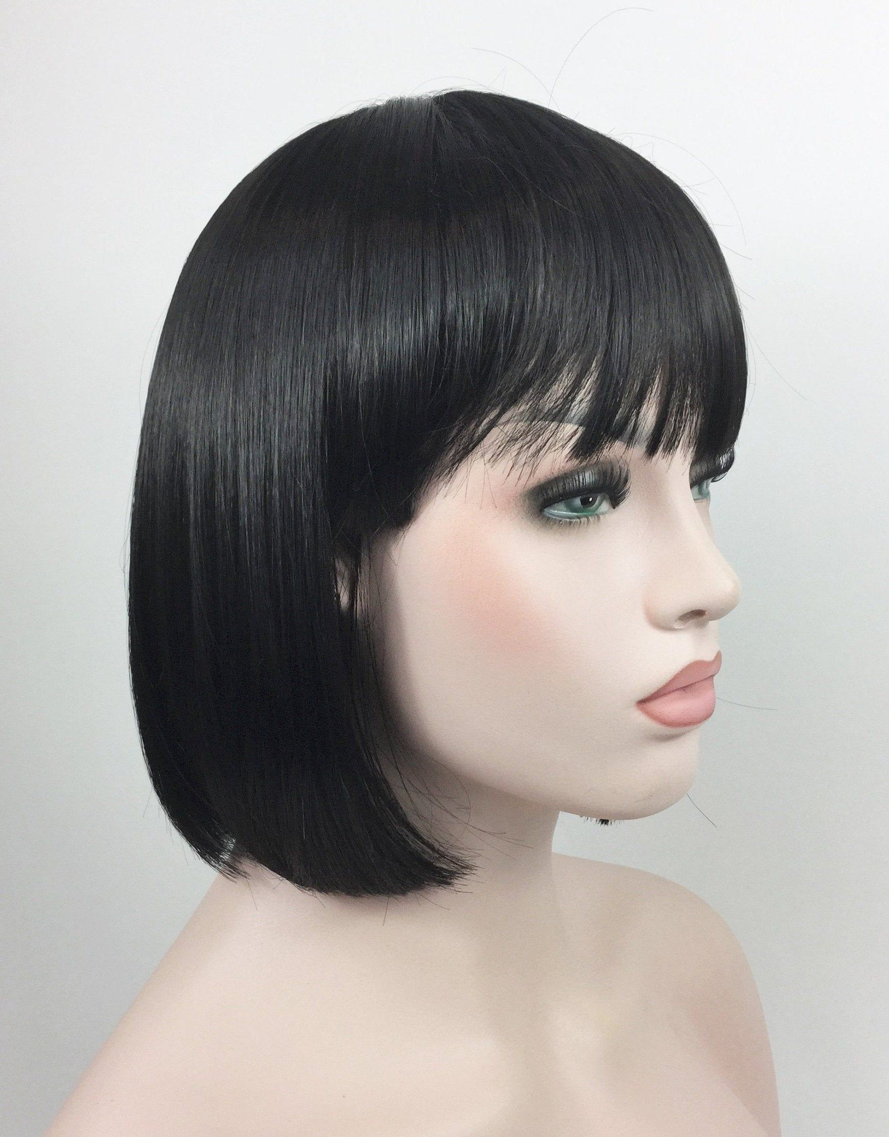 Premium Quality Bob Style Theatrical Halloween Costume Wig By Etsy In 2020 Halloween Wigs Short Black Hair Wig Halloween Costume Wigs