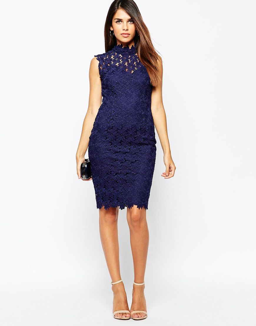 Image 4 of Paper Dolls High Neck Pencil Dress In Crochet Lace ...