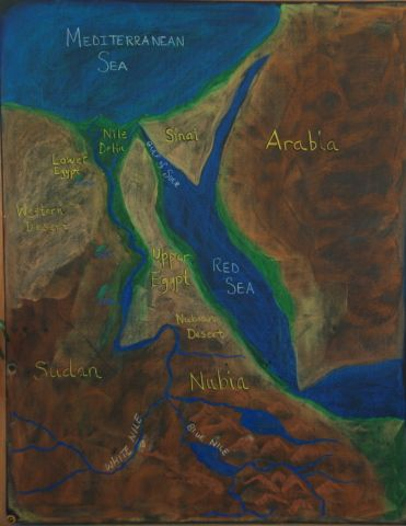 Waldorf Th Grade Ancient Egypt Map Chalkboard Drawing - Map of egypt and uk