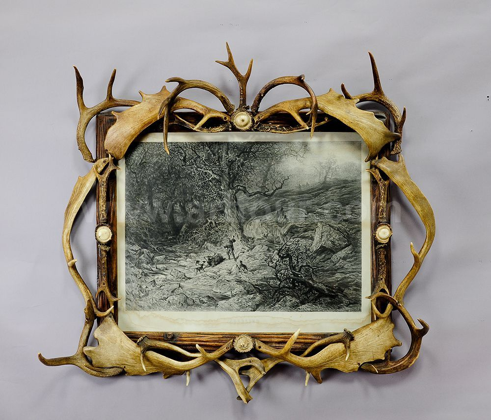 large black forest antler picture frame with print | Antique ...