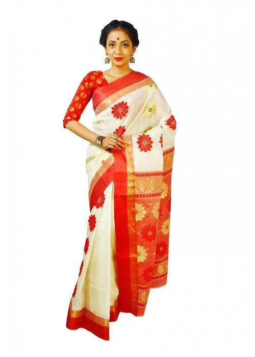 White and red Combination Embroidered Handloom Garad Silk #Saree