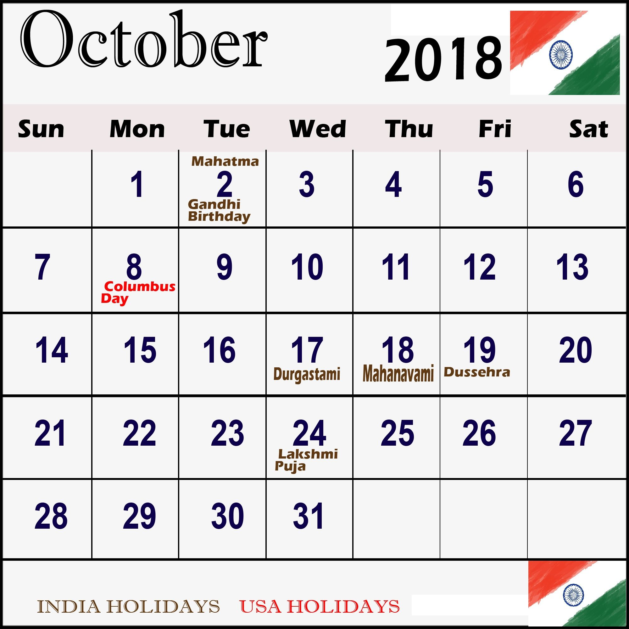 October 2018 Calendar India Indianholidays Octobercalendar