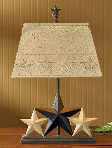 New Country Primitive Black Tan Cream Crackle STAR LAMP Electric Light  #Country