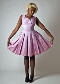 Original 1950s Pink Brocade Tailored Cocktail Dress from Upstaged Vintage in Leeds