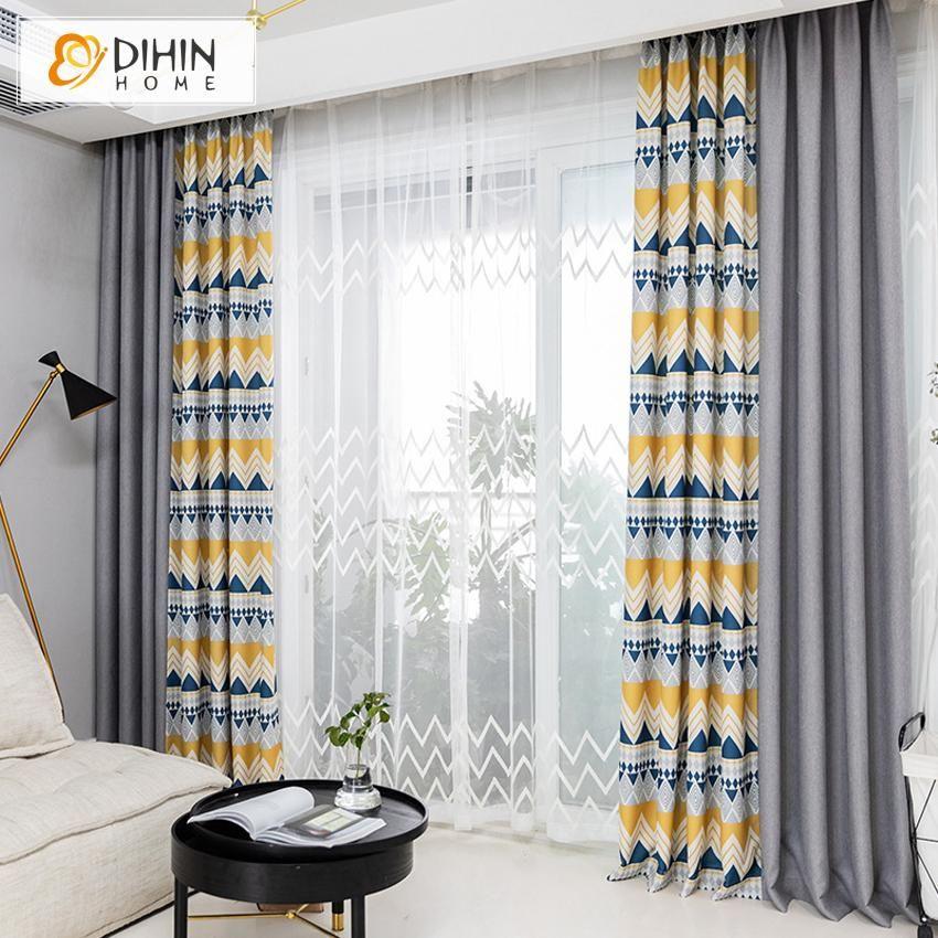 DIHIN HOME Modern Fashion Spliced Curtains,Blackout Grommet Window Curtain for Living Room ,52x63-inch,1 Panel -   16 room decor Modern window ideas