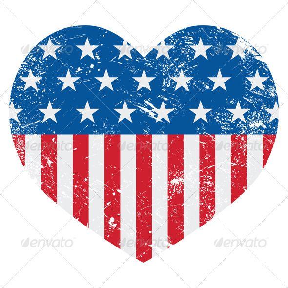 Usa flag heart. America retro fonts logos