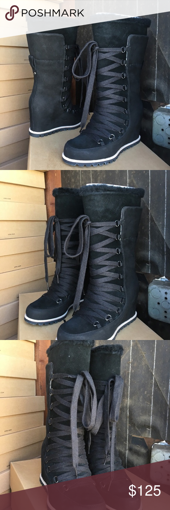 a0682c3ee0eb ❤️New Ugg Black Mason Tall wedge Laced Boots Sz 10 New Ugg Black Mason Tall  wedge Laced Boots ❤ 💦 A must have ! By now and save 💰💰 size 10 Come out  ...