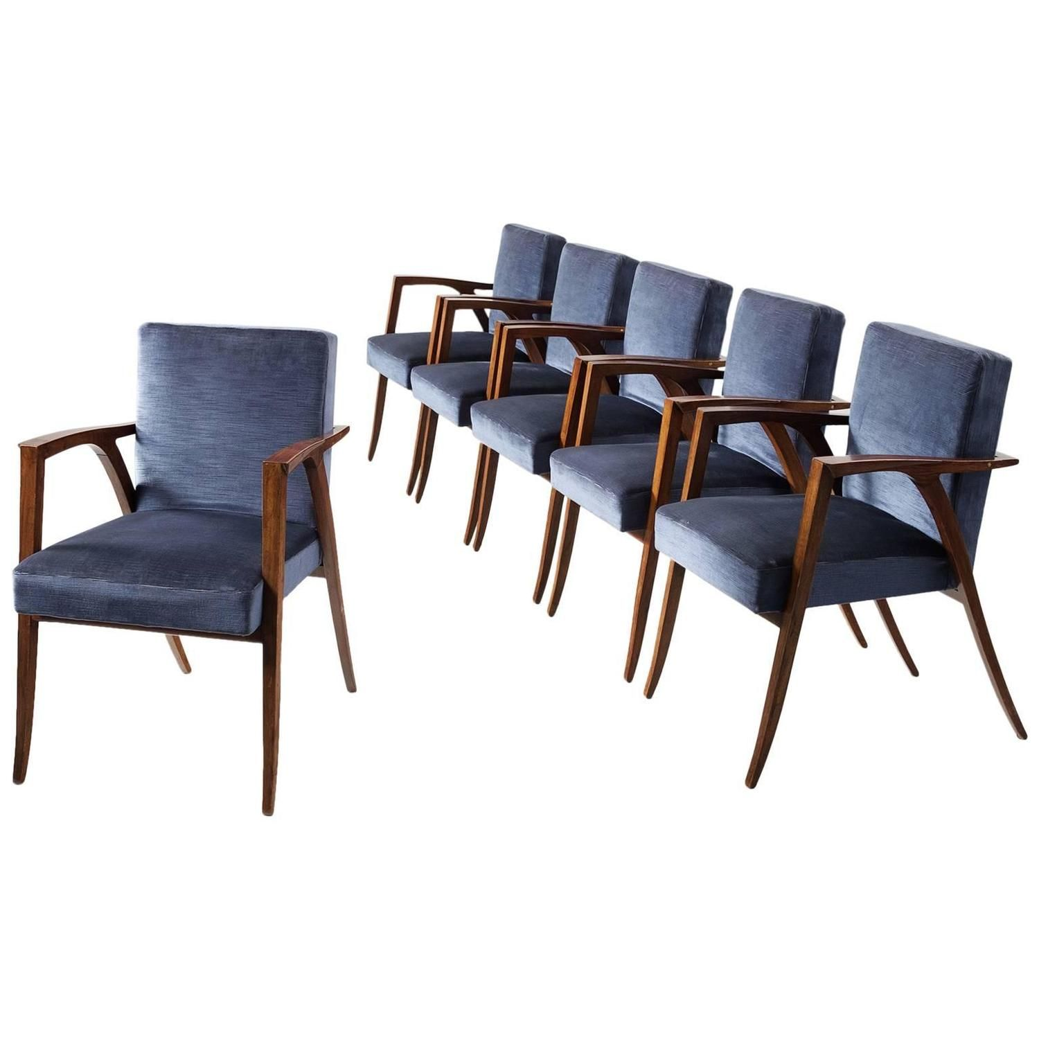 Set Of Six Dining Chairs In Rosewood And Blue Upholstery Dining Chairs Dining Room Chairs Modern Chair