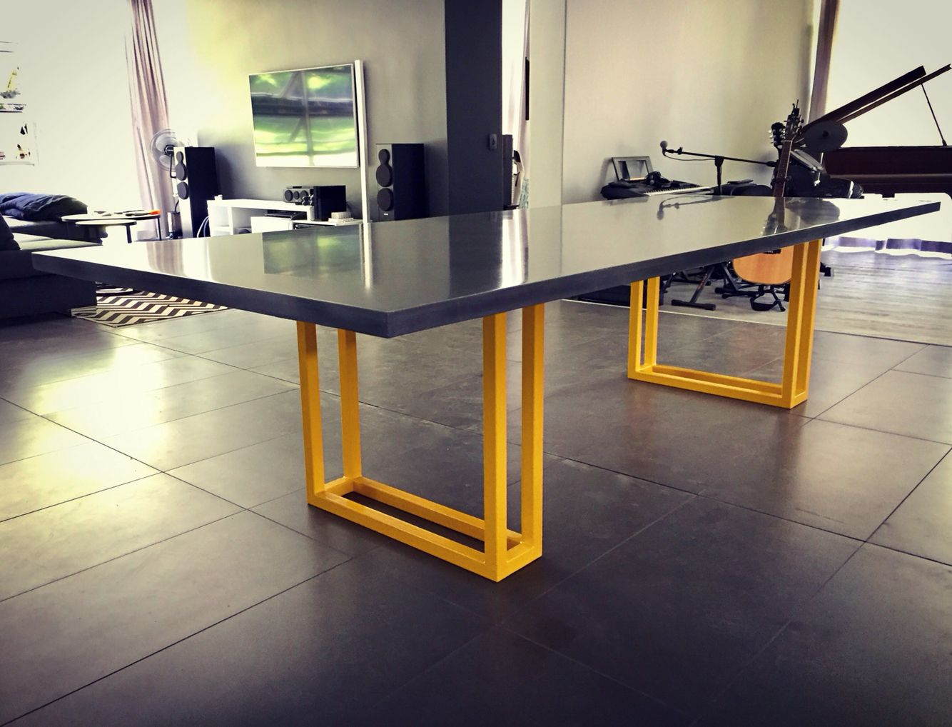 polished concrete furniture. Polished Concrete Table   Gunmetal Grey With Yellow Base \u2022 LONDON By FLOAT Design Furniture