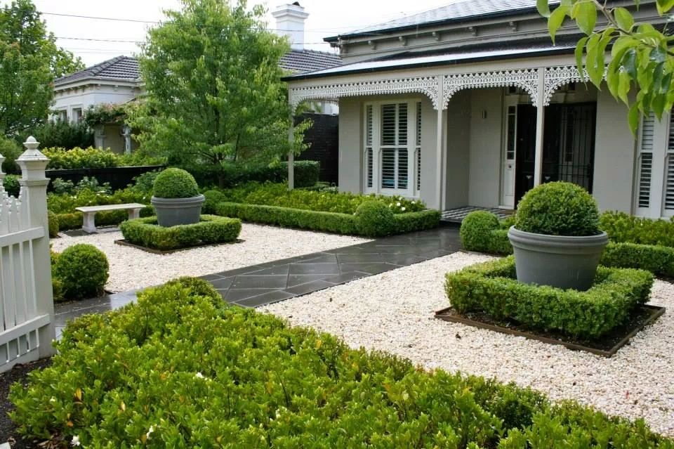 clipped boxwood small front yard