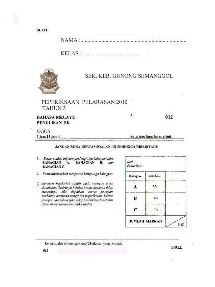 Bahasa Melayu Tahun 3 Penulisan Activities Image Person
