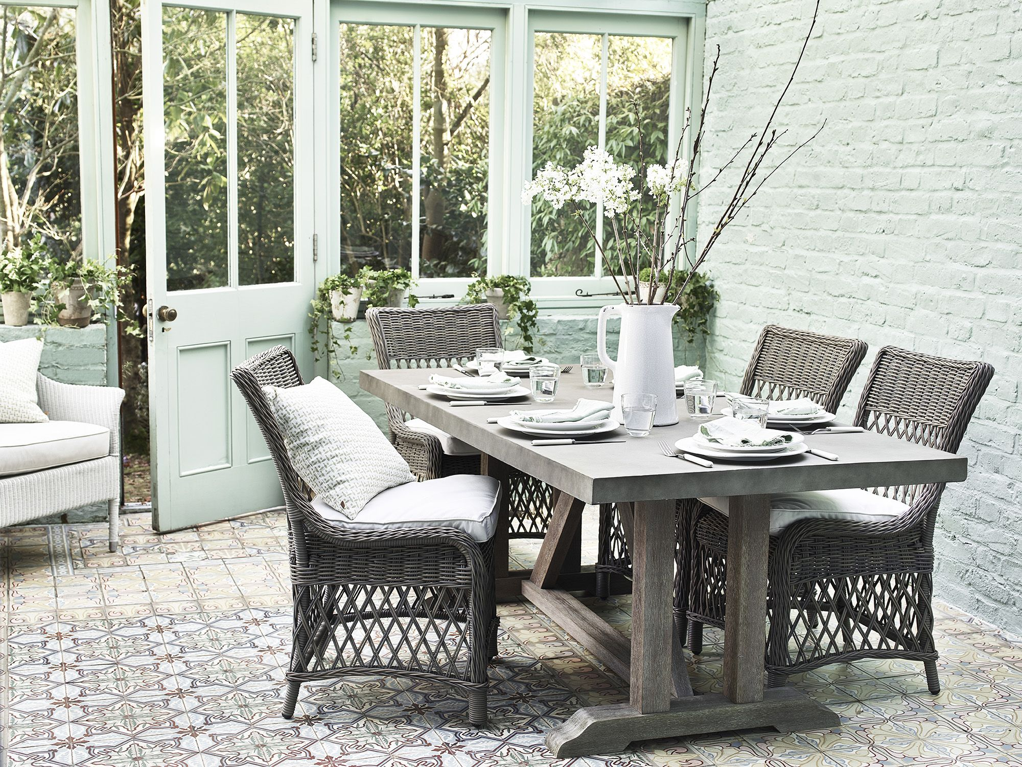 Neptune Hudson table and Harrington chairs  Garden furniture