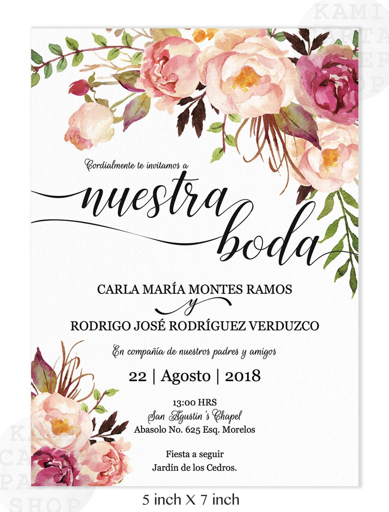 Invitaciones de Boda, Spanish wedding invitation, Marsala, Blush, rustic, pink Instant Download, Imprime en casa, PDF, Edit at home