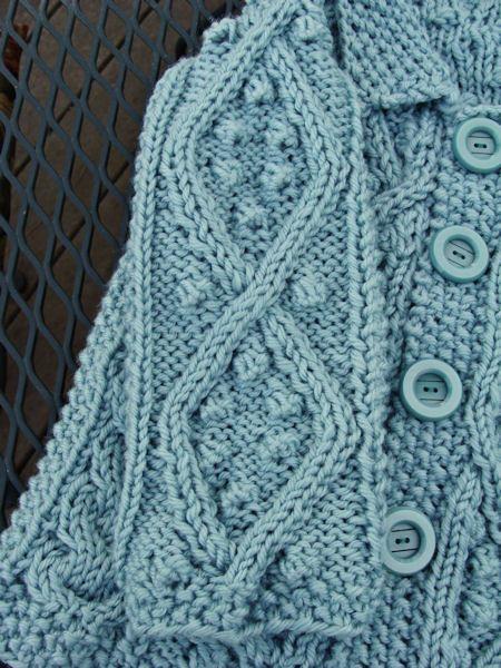 7f0614157 Bead Knitter Gallery  Baby Aran Cardigan in Aquarium Blue