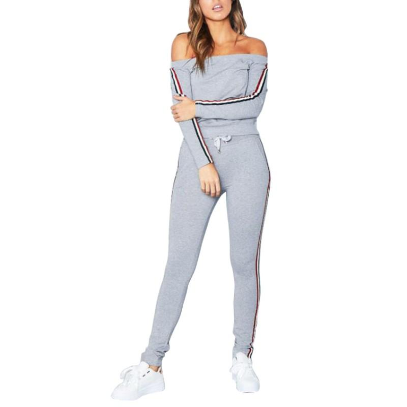 5dc4df96f78 Popular off the shoulder style mixed with trendy tracksuit stripes. Sexy,  trendy and comfort comes together. Great for gym, wear over tank tops and  sport ...