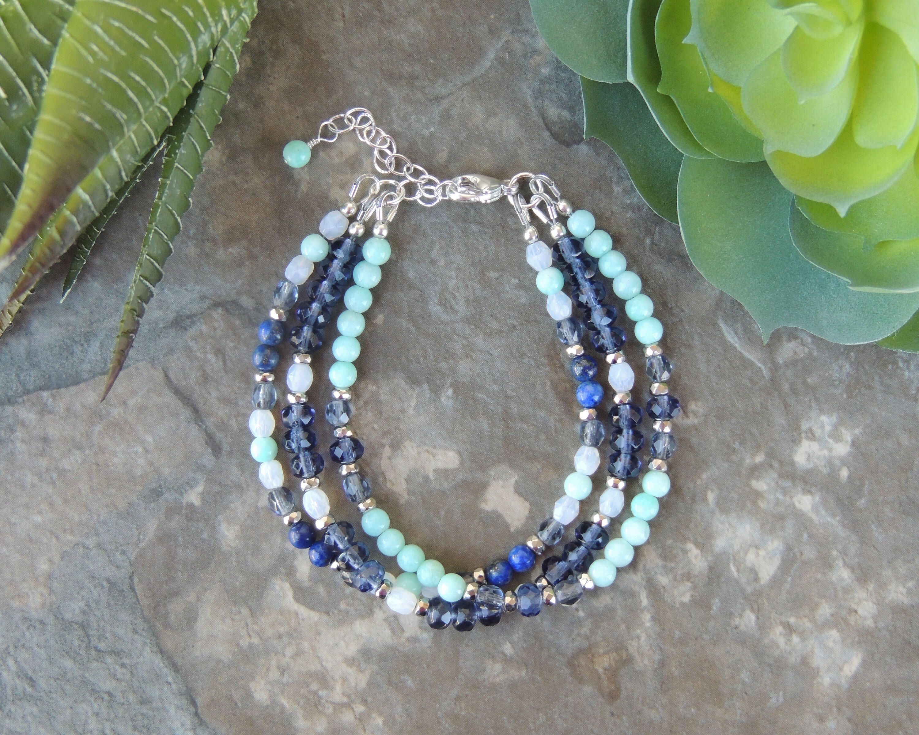 bracelet light collection wrap blue beaded spring