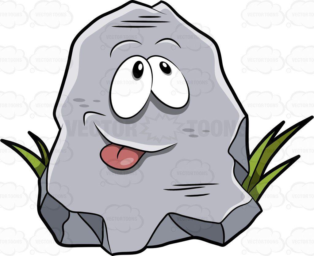 A Cartoon Rock Poking His Tongue Out A Cartoon Cartoon Rock