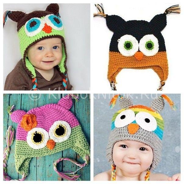 Красивые детские шапочки с узором Сова. - Рукоделие 489
