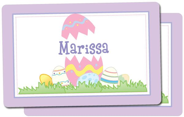 Personalized Easter placemats will make mealtime fun. This custom placemat has a design printed on both sides.