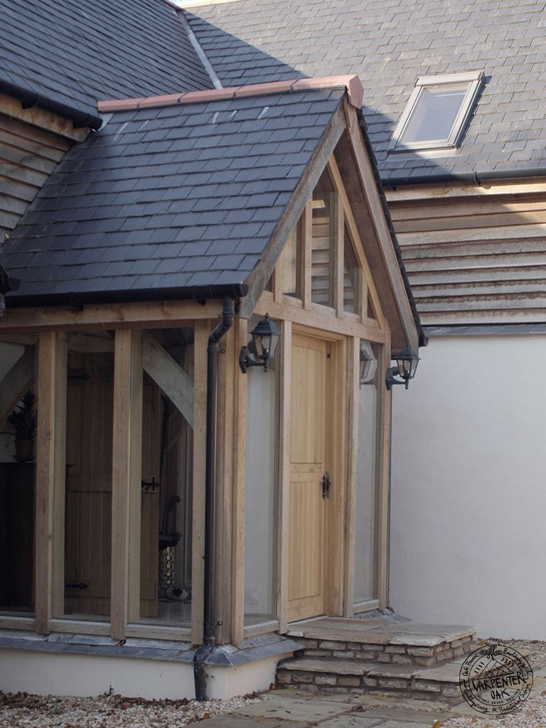 Hand Crafted Timber Framed Porch Image In Pages Porches By Carpenter Oak Ltd Devon House With Porch Timber Frame Porch Glass Porch