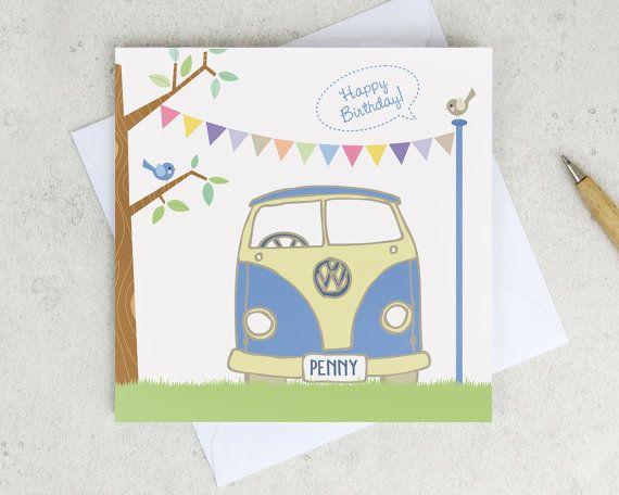 a244cfc5b7 V W Camper Van Birthday Card - Personalised - retro vw card - pastel  bunting - blue - volkswagen - camper van card - uk