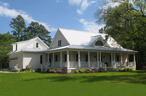 wrap around back porch one story house | houses with porches country ...