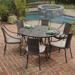 Stone Top Patio Table Set
