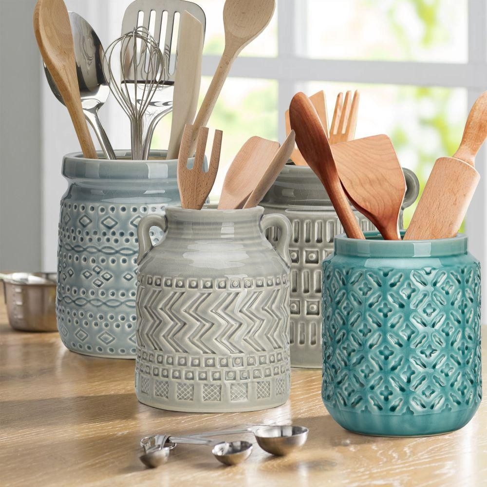 Benjara Vintage Ceramic Utensil Containers with Artistic Motif (Assortment of 4)-BM169058 - The Home Depot