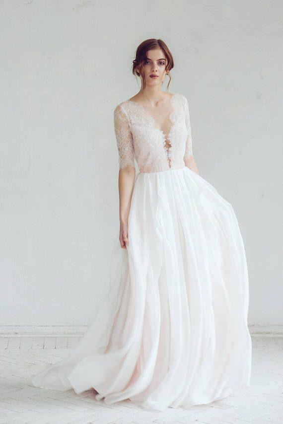 Lace Wedding Dress Magnolia Silk Gown Blush Illusion Neckline Bridal Go