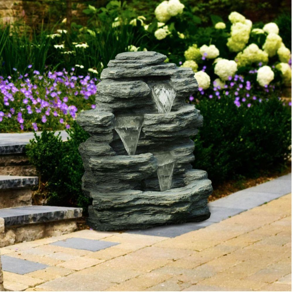 Outdoor Rock Decor Water Fountain Garden Waterfall Polyresin 3 Tiers