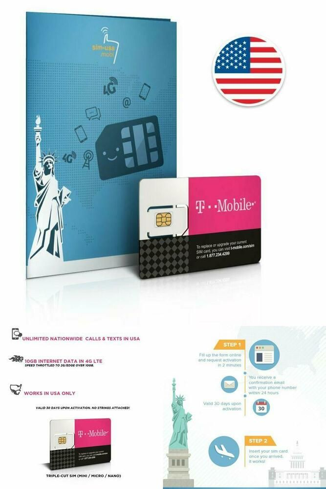 Ebay Sponsored Prepaid Sim Karte Usa 10gb 4g Lte Unbegrenzte