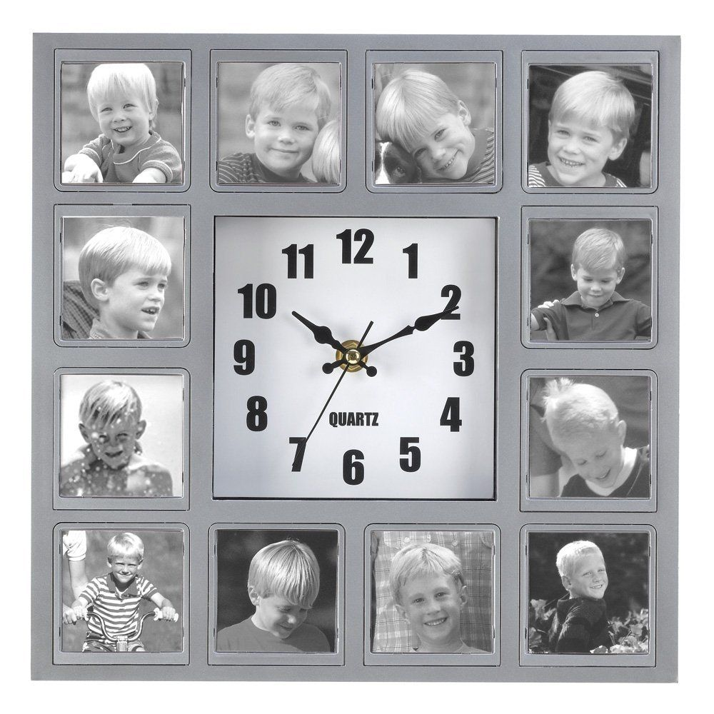 Jak diy kreatywne photo frame zegar cienny 3 dekoracje contemporary quartz wall clock gets a personal touch when a dozen of your favorite photos decorate the dial an instant work of art the jeuxipadfo Images