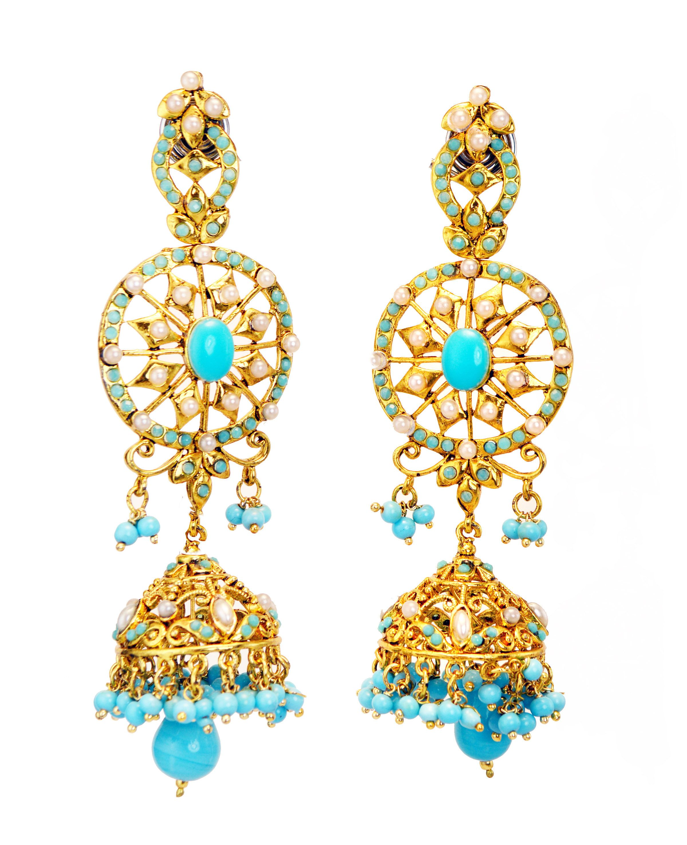 Hair & Head Jewellery Jewellery & Watches Sunny Indian Bollywood Gold Plated Blue Kundan Meenakari Earring Women Wedding Jewelr Soft And Light