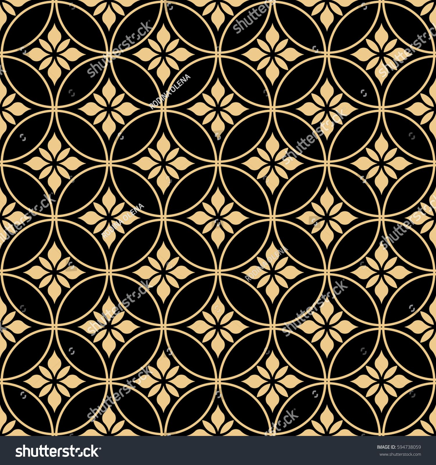 Seamless Abstract Floral Pattern Vector Background Gold